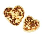 den hjärta isolerade pannkakan formade två Royaltyfria Bilder