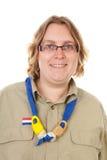den holländska kvinnligståenden spanar Arkivbild