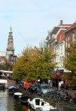 Den holländska staden av Leiden Arkivfoto