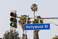 Den Hollywood boulevarden undertecknar royaltyfri foto