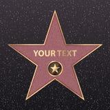 Den Hollywood stjärnan på kändisberömmelse av går boulevarden För hollywood för skådespelare för film för vektorsymbolstjärna gul stock illustrationer