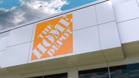 Den Home Depot logoen på den moderna byggnadsfasaden Redaktörs- tolkning 3D Royaltyfri Illustrationer