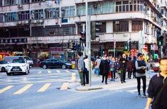 Den Hong Kong gatan tränger ihop kontorsarbetare Royaltyfria Bilder