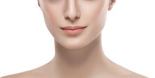 Den härliga kvinnadelen av näsan för framsidakanthakan och skuldror stänger sig upp ståenden som isoleras på vit Royaltyfria Bilder