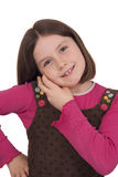 Den härliga liten flicka som talar på en mobil, ringer Fotografering för Bildbyråer