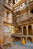 Den härliga Patwon kiHaveli slotten, Jaisalmer, Indien Fotografering för Bildbyråer