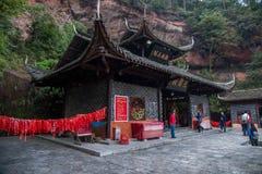 Den Hubei Enshi Tujia tempelstaden, den Lin Jun förfadern av pakistanska arbeten med statyer Lin Jun Temple är en av de viktiga b Arkivfoton
