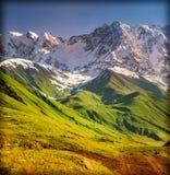 Den huvudsakliga Caucasian kanten, Shkhara berg Arkivbilder
