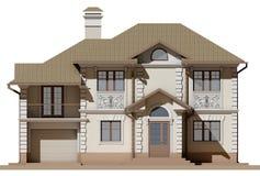 Den huvudsakliga fasaden av en stuga i en klassisk stil stock illustrationer
