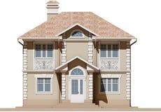 Den huvudsakliga fasaden av ett bostads-, beige och symmetriskt hus 3d framför vektor illustrationer