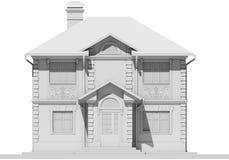 Den huvudsakliga fasaden av den vita stugan framförande 3d vektor illustrationer