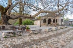 Den huvudsakliga fyrkanten av den pittoreska byn av Vitsa i Zagori område i nordliga Grekland Arkivfoton