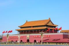 Den huvudsakliga ingången till Forbiddenet City i Peking, Kina arkivfoto