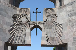 Den huvudsakliga ingången till kloster Echmiadzin Arkivfoto