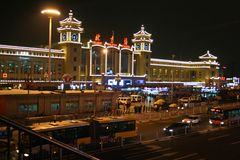 Den huvudsakliga järnvägsstationen av Peking Royaltyfri Foto
