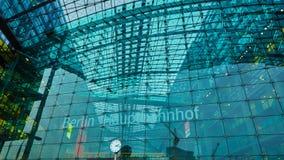 Den huvudsakliga järnvägsstationen i Berlin Fotografering för Bildbyråer