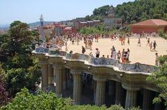 Den huvudsakliga terrassen av ¼engelsk aln för parkera GÃ i Barcelona Royaltyfri Fotografi