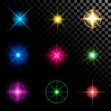 Den idérika begreppsvektoruppsättningen av bristningar för stjärnor för ljus effekt för glöd med mousserar isolerat på svart bakg stock illustrationer