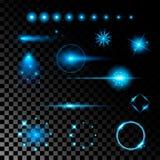Den idérika begreppsvektoruppsättningen av bristningar för stjärnor för ljus effekt för glöd med mousserar isolerat på svart bakg royaltyfri illustrationer