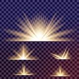 Den idérika begreppsvektoruppsättningen av bristningar för stjärnor för ljus effekt för glöd med mousserar isolerat på svart bakg Royaltyfri Fotografi