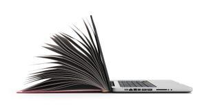 Den idérika E-lärande begreppsboken och bärbara datorn 3d framför på vit Royaltyfri Bild