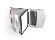 Den idérika E-lärande begreppsboken och bärbara datorn 3d framför på vit Arkivfoton