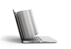 Den idérika E-lärande begreppsboken och bärbara datorn 3d framför på vit Royaltyfri Fotografi