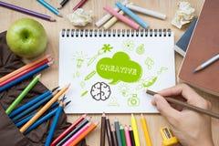 Den idérika hjärnan skissar design på anteckningsboken Idérik affär arkivbild