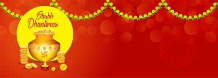 Den idérika illustrationen, affischen eller banret med den dekorerade krukan fyllde med guld- mynt av lyckliga dhanteras, diwalif royaltyfri illustrationer