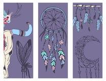Den idérika mady för bohostilbanret person som tillhör en etnisk minoritet befjädrar pilar och den blom- beståndsdelvektorillustr royaltyfri illustrationer