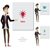 Den idérika mannen gör en presentation Fotografering för Bildbyråer
