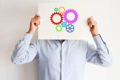 Den idérika meningsbegreppssnurret utrustar eller rullar Fotografering för Bildbyråer