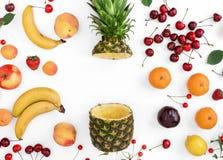 Den idérika modellen som göras av sommar, bär frukt på vit bakgrund Arkivfoto