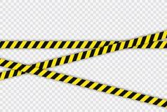 Den idérika polislinjen svart och gulingbandet gränsar Begrepp av barrikaden, fara och brottet Konstruktionstecken vektor royaltyfri illustrationer