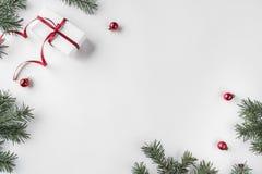 Den idérika ramen som göras av julgranfilialer på vit träbakgrund med röd garnering, sörjer kottar royaltyfri bild