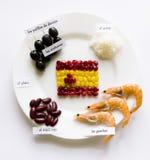 Den idérika spanjoren sjunker på en vit platta som omges av medborgarepr Arkivfoto