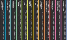 Den idérika väggkalendern 2019 med den vertikala regnbågedesignen, söndagar valde, det engelska språket vektor illustrationer
