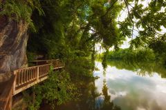 Den Ijam naturen parkerar strandpromenaden längs Tennessee River Arkivbild
