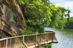 Den Ijam naturen parkerar strandpromenaden längs Tennessee River Arkivfoton