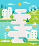 Den illustrerade färdplanen och staden på flodlandskapet med flerfamiljshus, springbrunn och parkerar Infographics eller affischo Arkivfoto