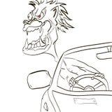 Den ilskna chauffören lutade ut fönstret och morrandena Royaltyfri Fotografi