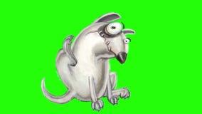 Den ilskna hunden bull terrier sitter, kliar och suckar stock illustrationer