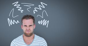 Den ilskna rasande mannen med klottrar klotter på grå bakgrund fotografering för bildbyråer