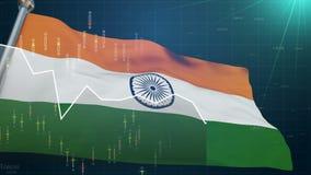 Den Indien flaggan på aktiemarknadbakgrund, handlar finanser Bombay, utbytesvaluta stock illustrationer