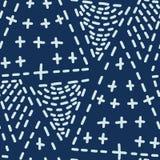 Den indigoblå blåa häftklammeren för japansk stil fodrar den sömlösa vektormodellen Hand drog Sashiko vektor illustrationer