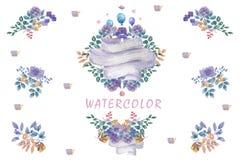 Den indigoblå vattenfärgen blommar buketten, klara ramar som blom- uppsättningmålningblad planlägger blommor för att gifta sig, b Royaltyfria Bilder