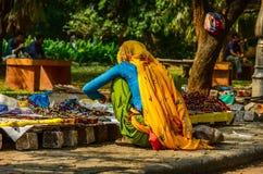 Den indiska kvinnan i färgrik sari säljer souvenir Arkivfoto