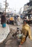 Den indiska kvinnan kommer med tillbaka livsmedel från en gatamarknad i Bihar royaltyfri foto