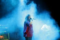 Den indiska sångaren Sunidhi Chauhan utför på Bahrain Royaltyfria Bilder
