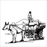 Den indiska tjurvagnen skissar royaltyfri illustrationer
